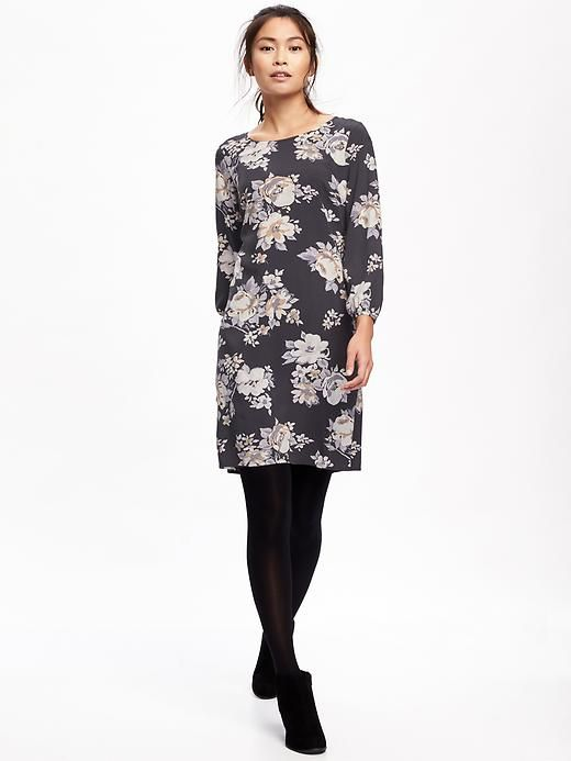 Printed Crepe Shift Dress for Women in Black Floral  $24.00 - $34.94