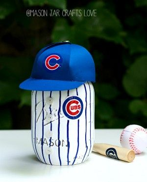 Mason Jar Craft: Cubs Baseball Uniform Mason Jar