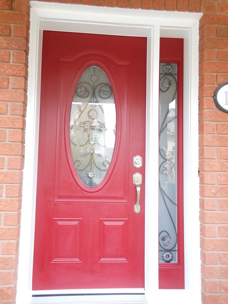 oval glass door with side lite  front doors  Painted