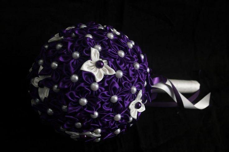 Dark Purple with Ivory brides bouquet.   www.facebook.com/DawneveCrafts