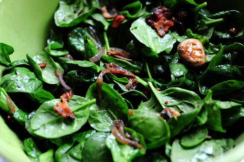 Fabulous Warm Spinach Salad.  Perfect for brunch!