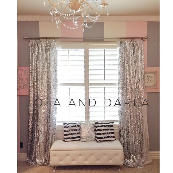 """We take our sparkle seriously in this home! So much fun working on Miss Lola's room today! I made these silver sequin curtains to match the gold version…"""
