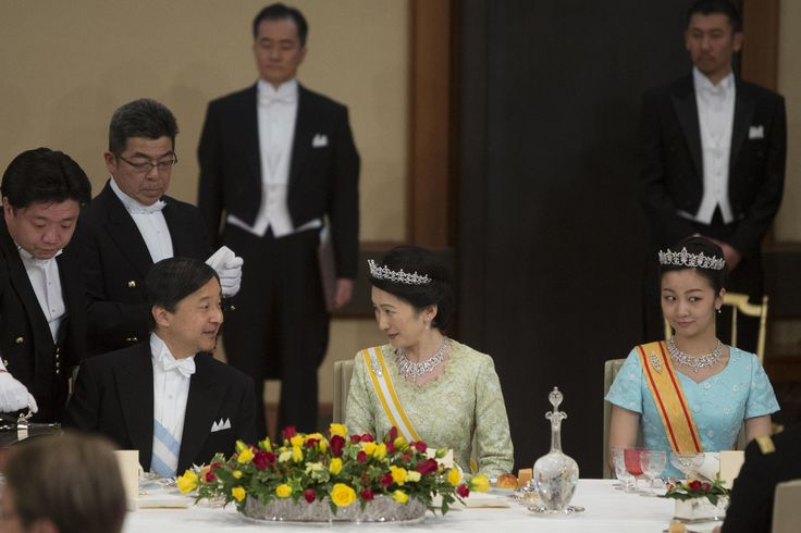 Crown Prince Naruhito of Japan,  Kiko, Princess Akishino and Princess Kako of Akishino during a state banquet for Spanish King Felipe VI and his wife Queen Letizia at the Imperial Palace in Tokyo on April 5, 2017. The banquet was hosted by Emperor Akihito and Empress Michiko.