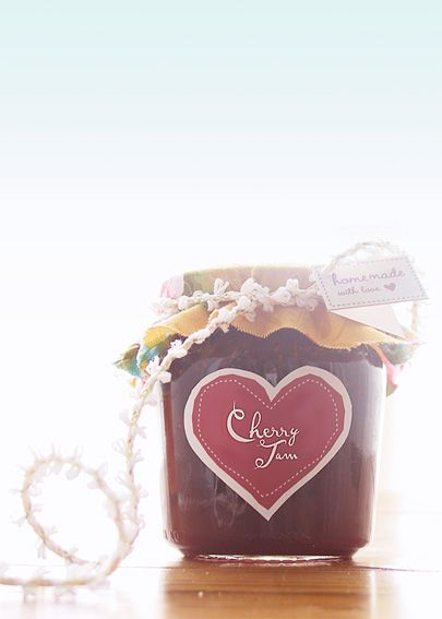 """DIY Home Made Jam Packaging ~ Free Labels for Cherry, Rhubarb, Strawberry, Blueberry & Apricot Jam plus Marmelade including """"homemade with love"""" tags for the cover"""