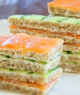 High Tes Salmon and Cucumber sandwiches