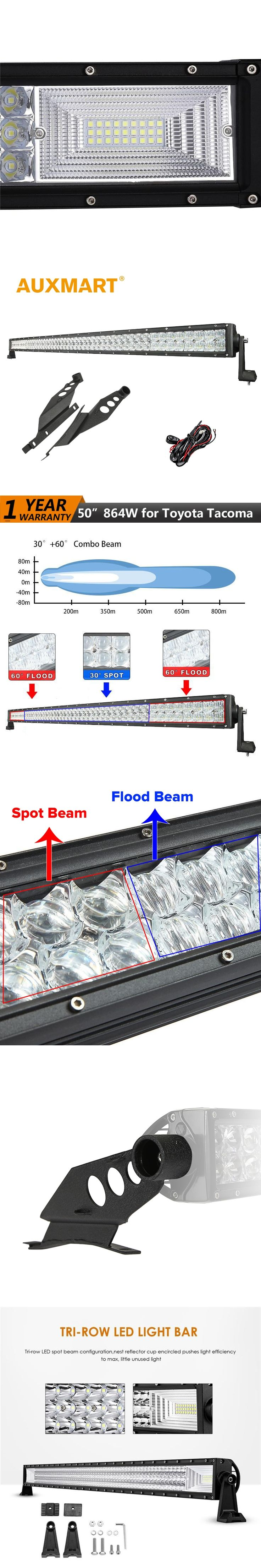 Auxmart for Toyota Tacoma 2005~2015 LED Light bar 50 inch 5D 864W Offroad 3-Row 702W LED Work Light bar Combo beams lamp holder