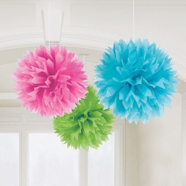PomPoms Fluffy in Blau, Grün und Pink als Hochzeitsdekoration