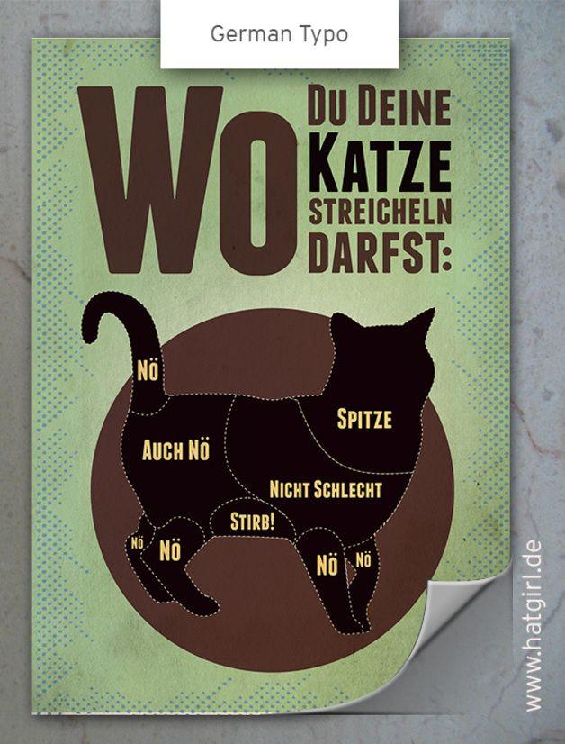 """Wanddeko - Vintage Poster """"Wo Du Deine Katze streicheln darf"""" - ein Designerstück von hatgirl bei DaWanda"""