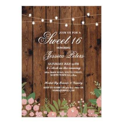 #Rustic Sweet 16 Party Coral Floral Wood Invite - #saturday #saturdays