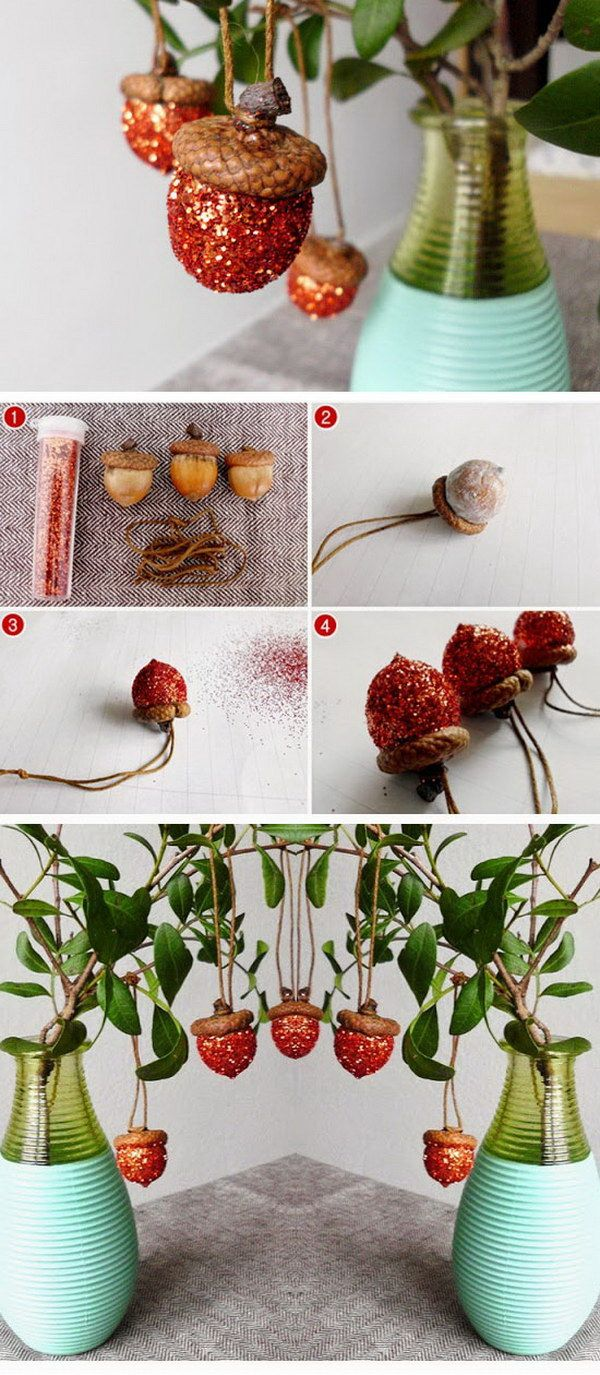 DIY Glitter Acorn Ornaments.