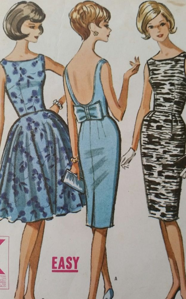 Vintage 1950s McCall\'s DRESS SEWING PATTERN Wiggle Pin Up Bust 32 ...