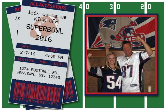 Patriots Superbowl 2016 Invitation or Thank you card by HeathersCreations11