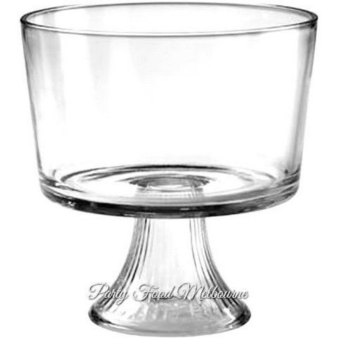 Glass trifle bowls available to hire - great for food or table displays on a windy day!