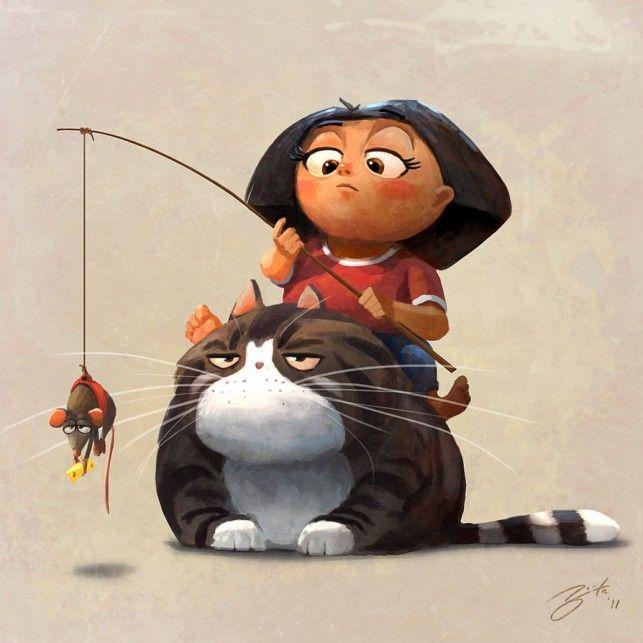 mascota del ratón obeso gato gordo en caña de pescar asian girl comic humor humor gracioso photoshop ilustración de dibujos animados