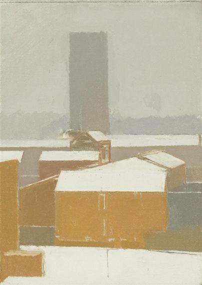 SNOW ON LAMBETH By Euan Uglow Dimensions: 28.6 x 20.3 cm. (11 1/4 x 8 in.) Medium: oil on canvas laid on panel Creation Date: 1987