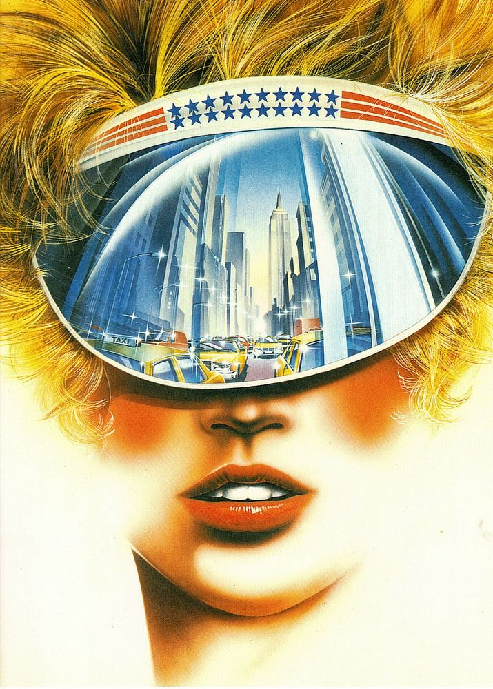 1980 s ATHENA INT GREETING CARD   REFLECTIONS  NEW YORK IN GIRL S SUN VISOR