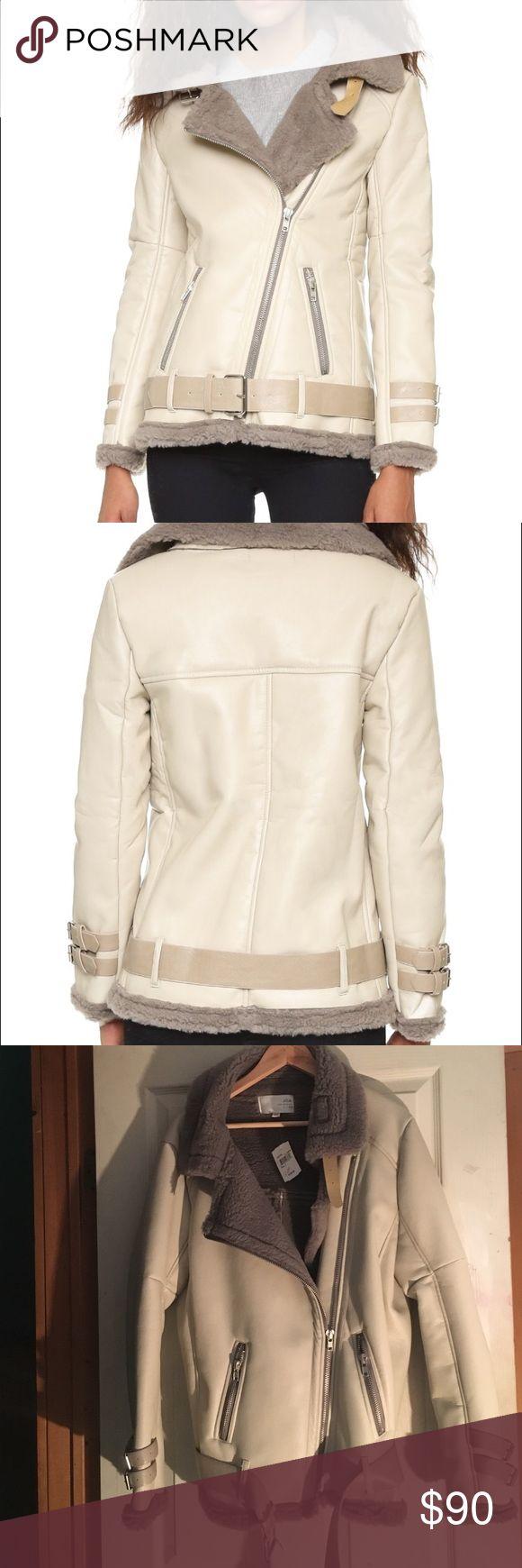 JOA Shearling Contrast Jacket Soft sherpa composes the