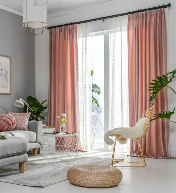 Pair Of Ballet Pink Curtains Linen Blend Pink Drapery Custom Etsy Pink Curtains Interior Design Bedroom Small Curtains Living Room