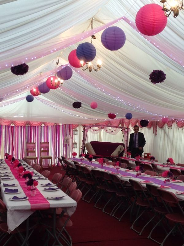 Pink & purple marquee theme for Indian engagement