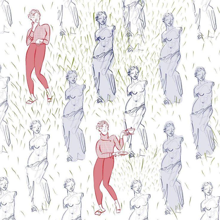 If Venus de Milo had arms.  An excerpt of a piece I'm working on for my next zine...  #wip#venusdemilo#sculpture#art#illustration #zine#byudesil394#lizpulido#nosepicking#teatime#colour#draw#artistsofinstagram #illustrator#museumlife #museumculture#museumpeople#arthistory