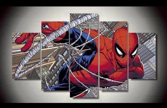 5 Panels Spiderman Canvas Art Marvel Comics Spider Man Poster Etsy Spiderman Canvas Art Spiderman Canvas Marvel Canvas