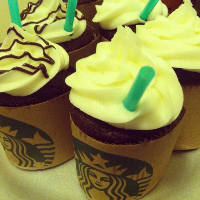 Starbucks cupcakes, perfect for my friends birthday!