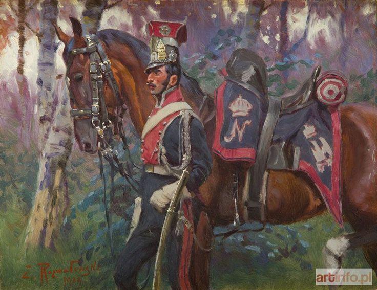 Zygmunt ROZWADOWSKI ● Ułan prowadzący konia, 1909 r. ●