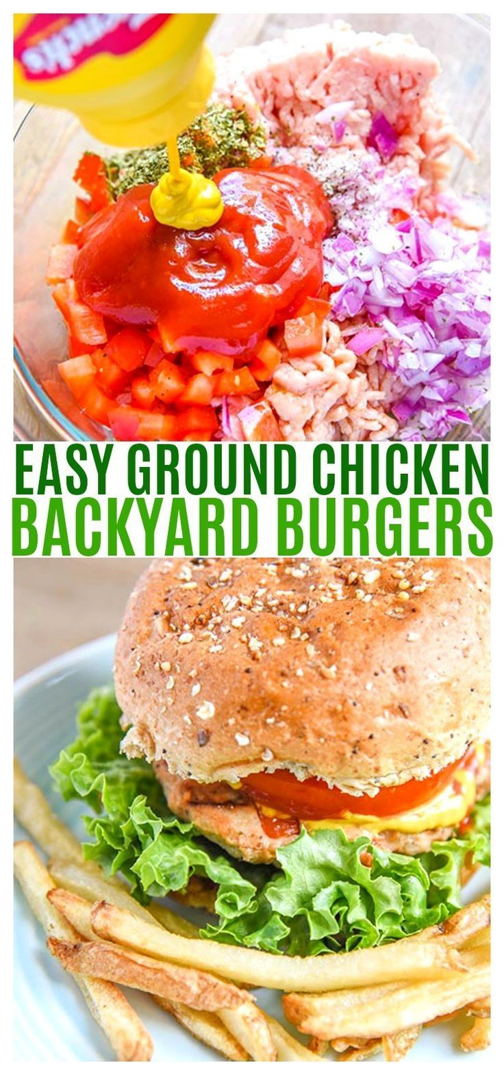 Simple backyard ground chicken burger recipe! This…