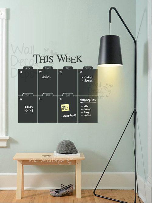 Etsy Wednesday: Chalkboard Calendar Decals for Back To School #organization #dorm #timemanagement