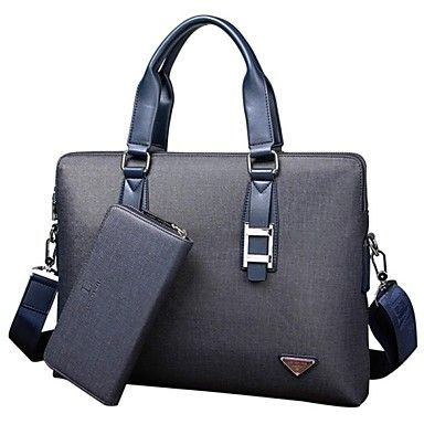 Men's Casual Solid PVC Briefcase Laptop Bag with One Purse – AUD $ 101.33