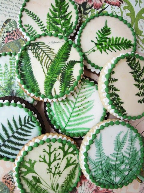 fern cookies.....what little fairy wouldn't love to serve these with a lovely fairy cake and fiddle fern tea.