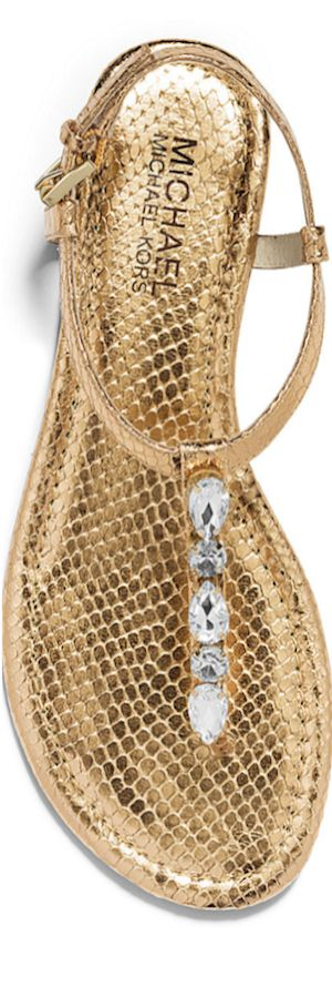 MICHAEL MICHAEL KORS Jayden Embellished Metallic Embossed-Leather Sandal