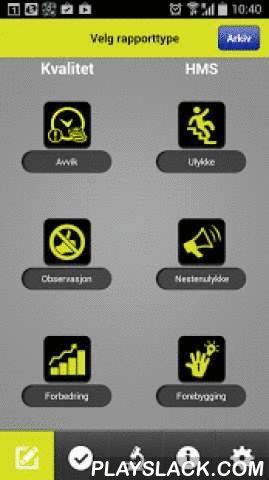 4Service HSEQ  Android App - playslack.com ,  Dette er 4SERVICE AS' app til bruk ved innrapportering av HMS-hendelser og kvalitetsrelaterte saker. Appen inneholder systematikk for å sende melding om avvik, observasjoner, nestenulykker, ulykker og forbedringsforslag, samt en egen modul for dokumentasjon av gjennomførte sikker-jobb analyser / risikoanalyser og en annen for inspeksjoner og revisjoner. Appen er strippet for alle unødvendige funksjoner og knapper for å gjøre den mest mulig…