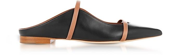 fce260bea8 MALONE SOULIERS | Maureen Black and Nude Nappa Leather Flat Mules #Shoes #MALONE  SOULIERS