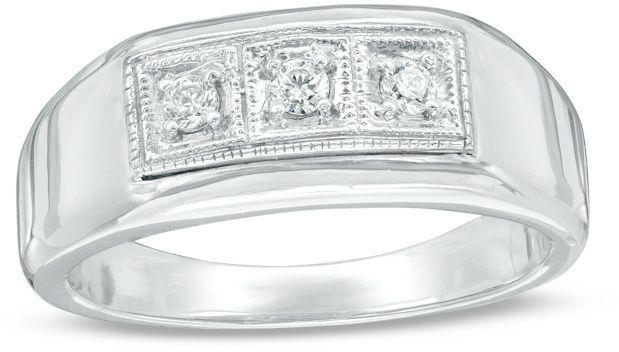 Zales Mens 1/6 CT. T.w. Diamond Three Stone Ring in Sterling Silver rOppol1cg
