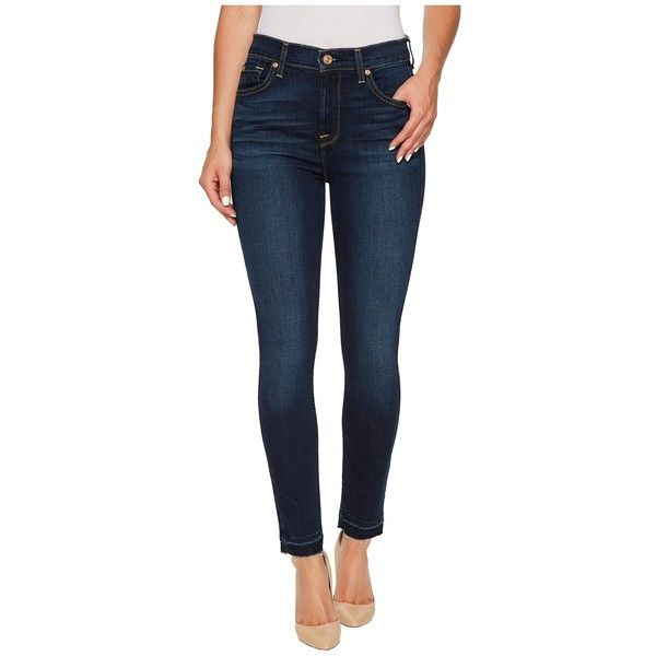 7 For All Mankind High Waist Ankle Skinny w/ Released Hem in Victoria Blue (Victoria Blue) Women's Jeans (€150) found on Polyvore featuring women's fashion, jeans, slim skinny jeans, high waisted skinny jeans, frayed skinny jeans, cropped skinny jeans and blue skinny jeans