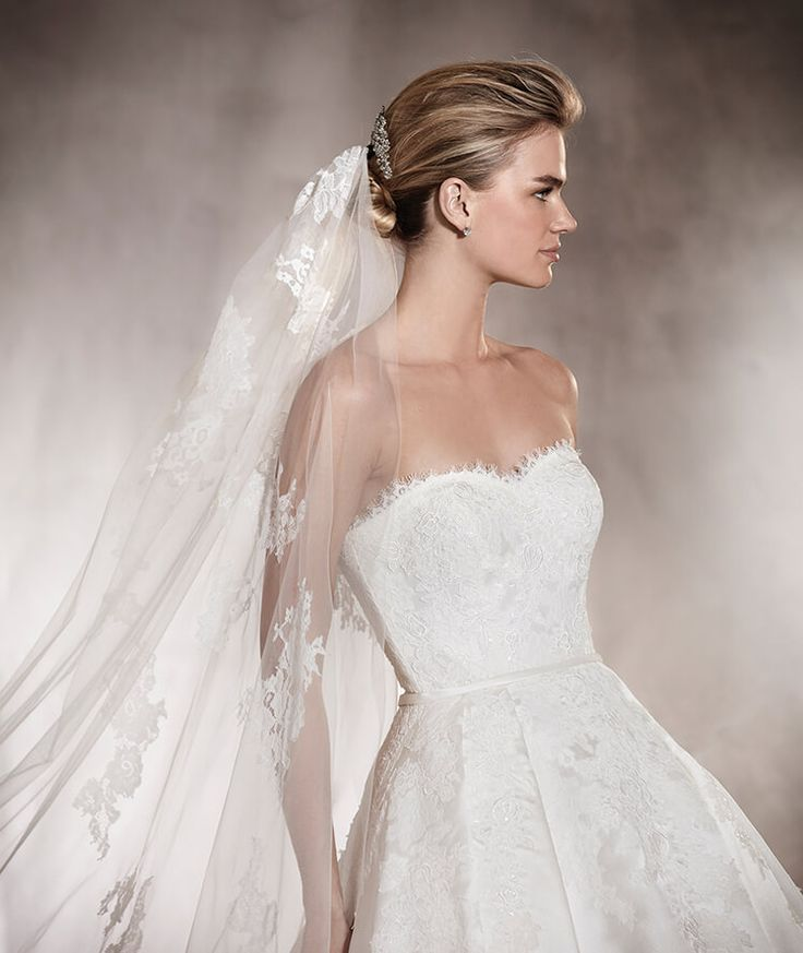Pronovias > ALBASARI - Wedding dress in mikado, with an off-the-shoulder neckline and lace