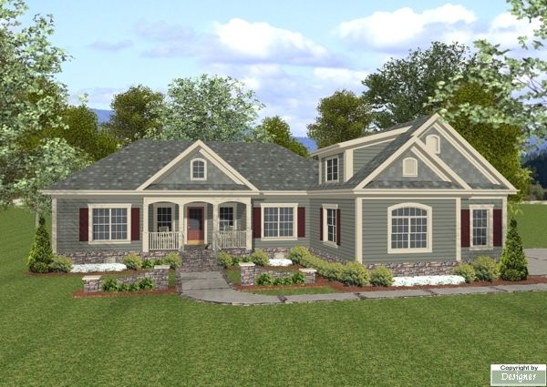 Great l shape 3 car garage w small storage area study for House plans with great room in front