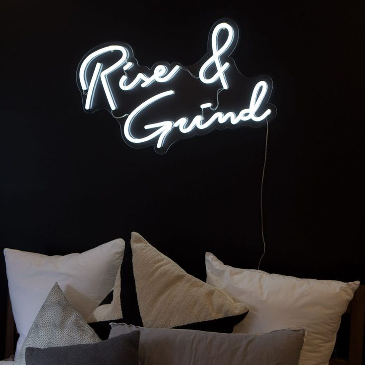 LED white neon home sign Rise and Grind sign art work