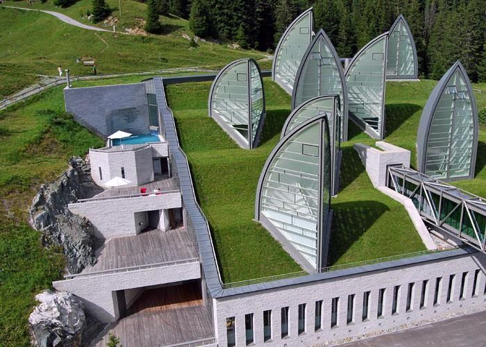 Green roof at Tschuggen Grand Hotel in Arosa, Switzerland by Architect Mario Botta