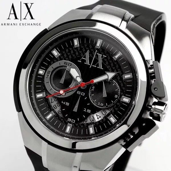 SALE PRICE! MUST GO! Armani Exchange Mens Chronograph Silicone Band Watch AX1042