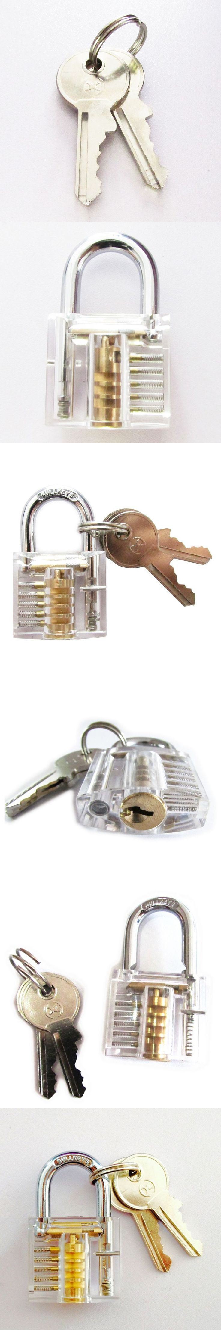 Padlocks Lock Crystal Cutaway Training Skill Pick Lock For Beginners Locksmith Two Keys Locksmith Practice Set