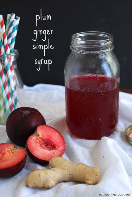 A truly simple syrup made with fresh summer plums and spicy ginger. Perfect for adding to cocktails, lemonade or tea. #plum #fruit #drink