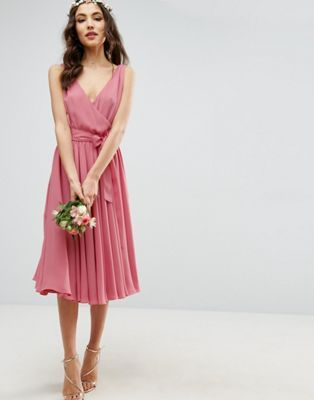 ASOS WEDDING Bow Front Midi Dress