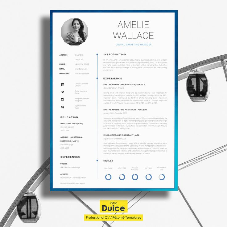 resume template cv template single page by introduice on etsy