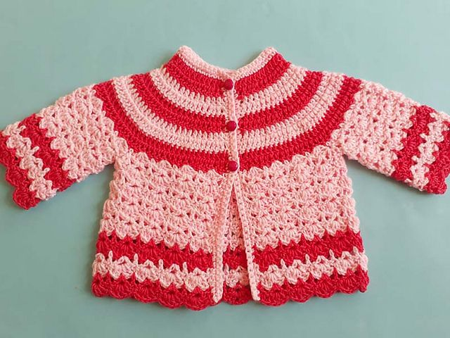5bf6eb738 Craft Passions  Crocheted Baby Jacket Sweater Free Crochet  pattern ...