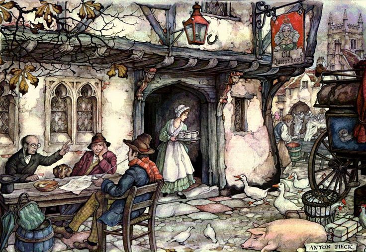 Old Queen's Head - Anton Pieck, Dutch painter, artist and graphic artist.