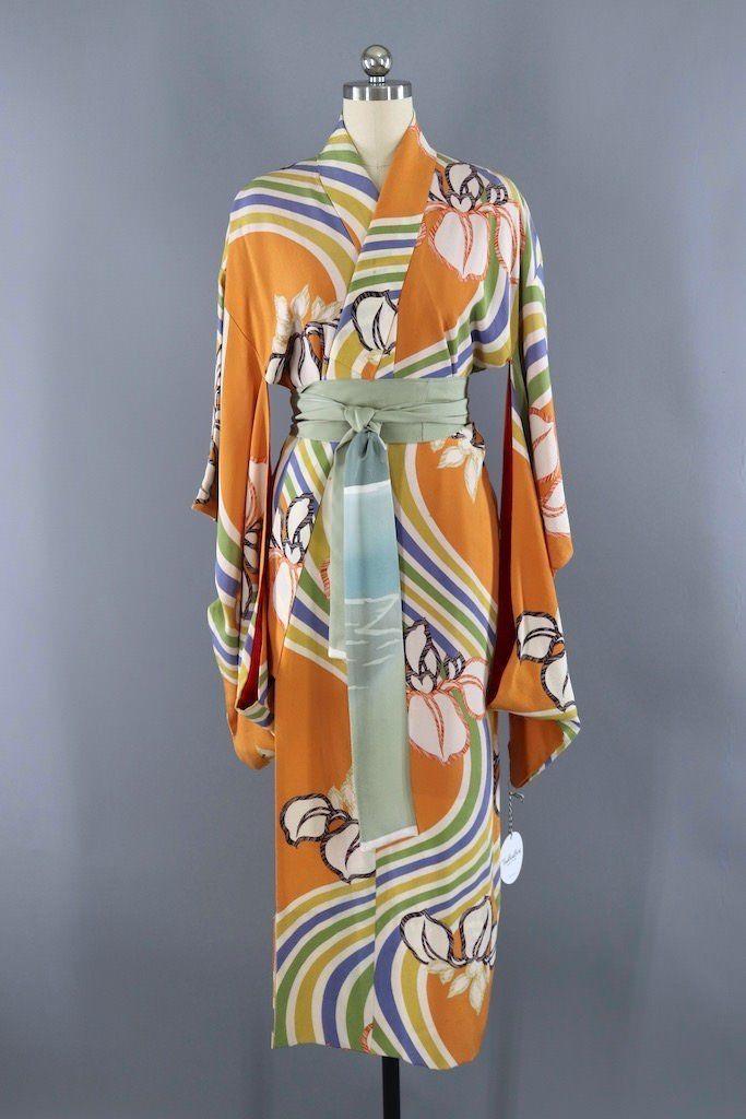 "Japanese vintage kimono silk fabric /""Orange Waves/"""