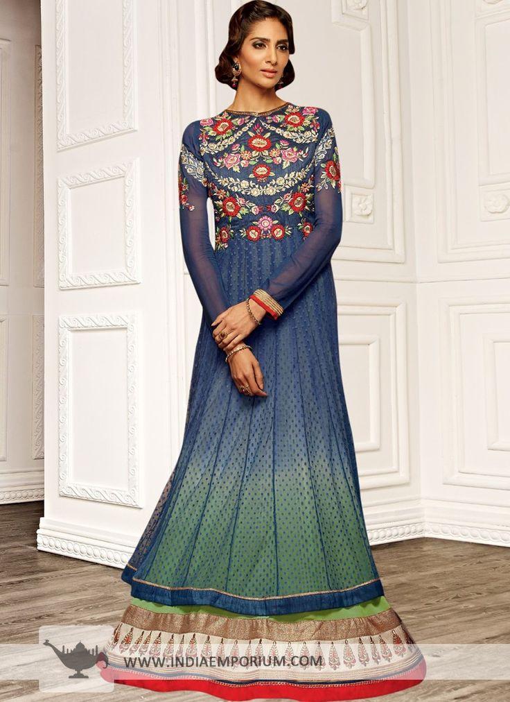 Blue Resham EmbroideryFull Sleeve Anarkali Salwar Kameez   @ Looksgud.in #Wedding #Party #AnarkaliSuit