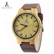 ALK Vision Wood Watches with Real Leather Straps Japan Quartz Movement 2035 Wooden Casual Watch For Men Women Fashion Watch(China (Mainland))